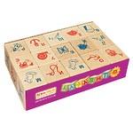 Набор кубиков с буквами и картинками, 15 штук